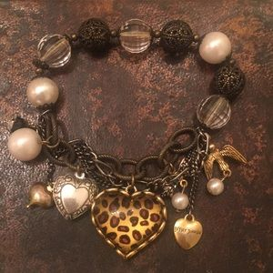 Rare Betsy Johnson Charm & Chain Bracelet Boho